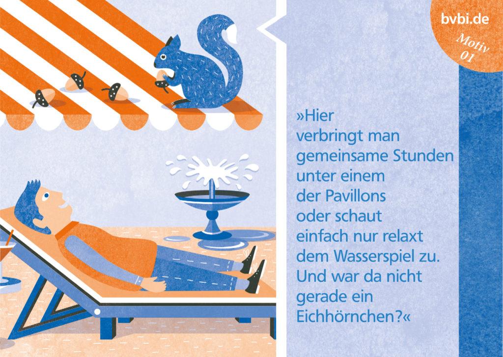 BVBI-Postkarte Motiv 01: »Hier verbringt man gemeinsame Stunden unter einem der Pavillons oder schaut relaxt dem Wasserspiel zu. ...«