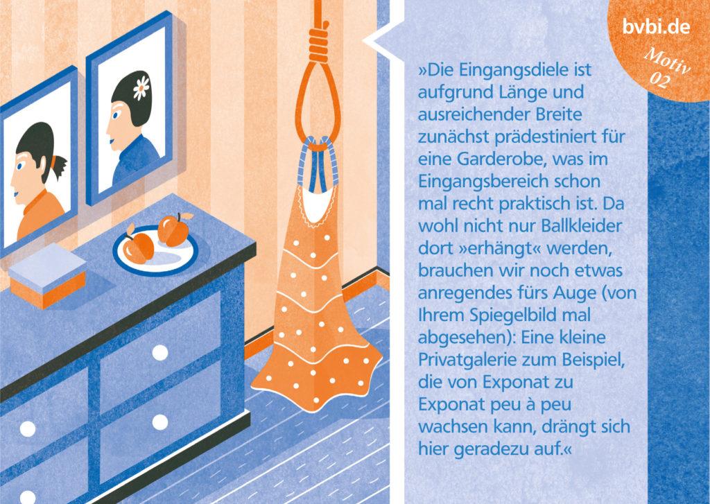 BVBI-Postkarte Motiv 02: »Die Eingangsdiele ist aufgrund Länge und ausreichender Breite zunächst prädestiniert für eine Garderobe, ...«