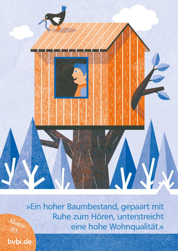 BVBI-Postkarte Motiv 03: »Ein hoher Baumbestand, gepaart mit Ruhe zum Hören, unterstreicht eine hohe Wohnqualität.«