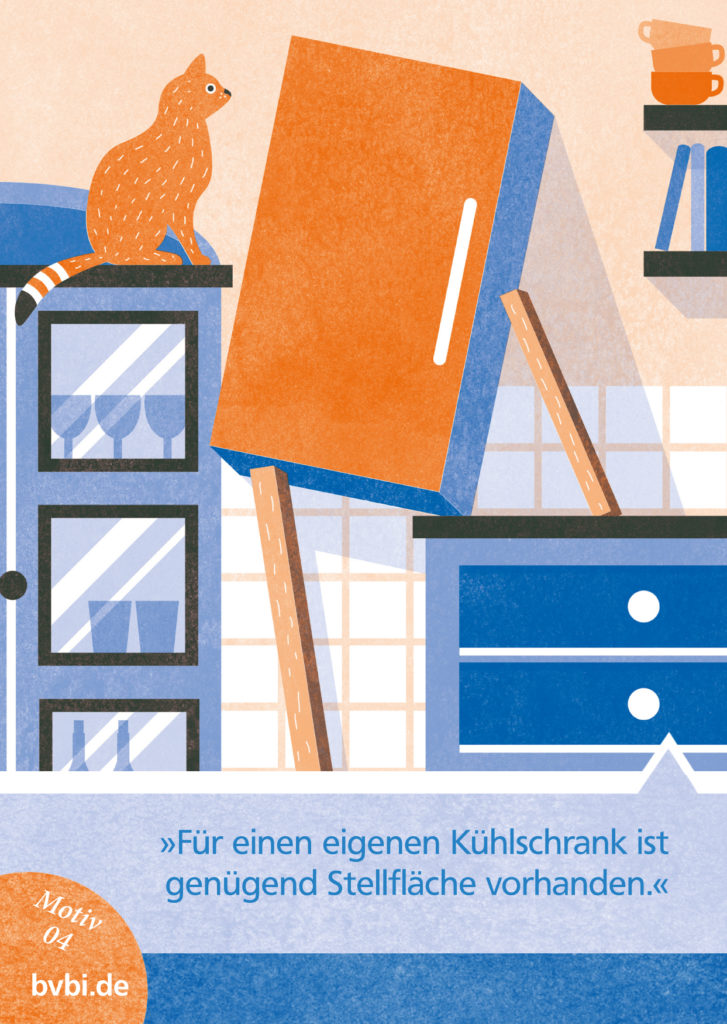 BVBI-Postkarte Motiv 04: 3Für einen eigenen Kühlschrank ist genug Stellfläche vorhanden.«