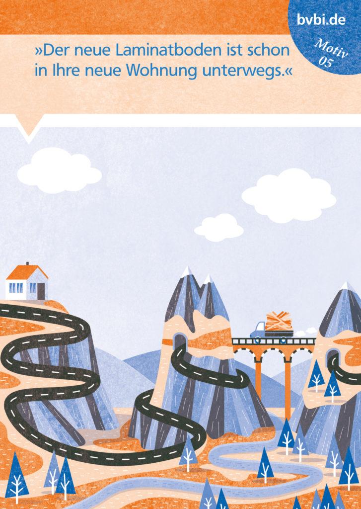 BVBI-Postkarte Motiv 05: 7Der neue Laminatboden ist schon in Ihre neue Wohnung unterwegs.«