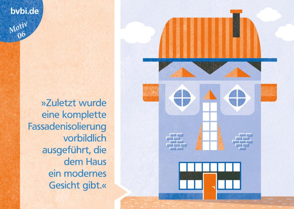 BVBI-Postkarte Motiv 06: »Zuletzt wurde eine komplette Fassadenisolierung vorbildlich ausgeführt, die dem Haus ein modernes Gesicht gibt.«