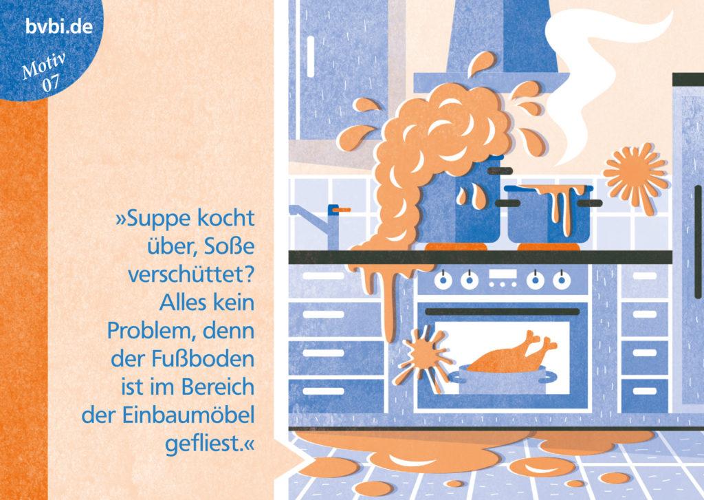 BVBI-Postkarte Motiv 07: »Suppe kocht über, Soße verschüttet? Alles kein Problem, ...«
