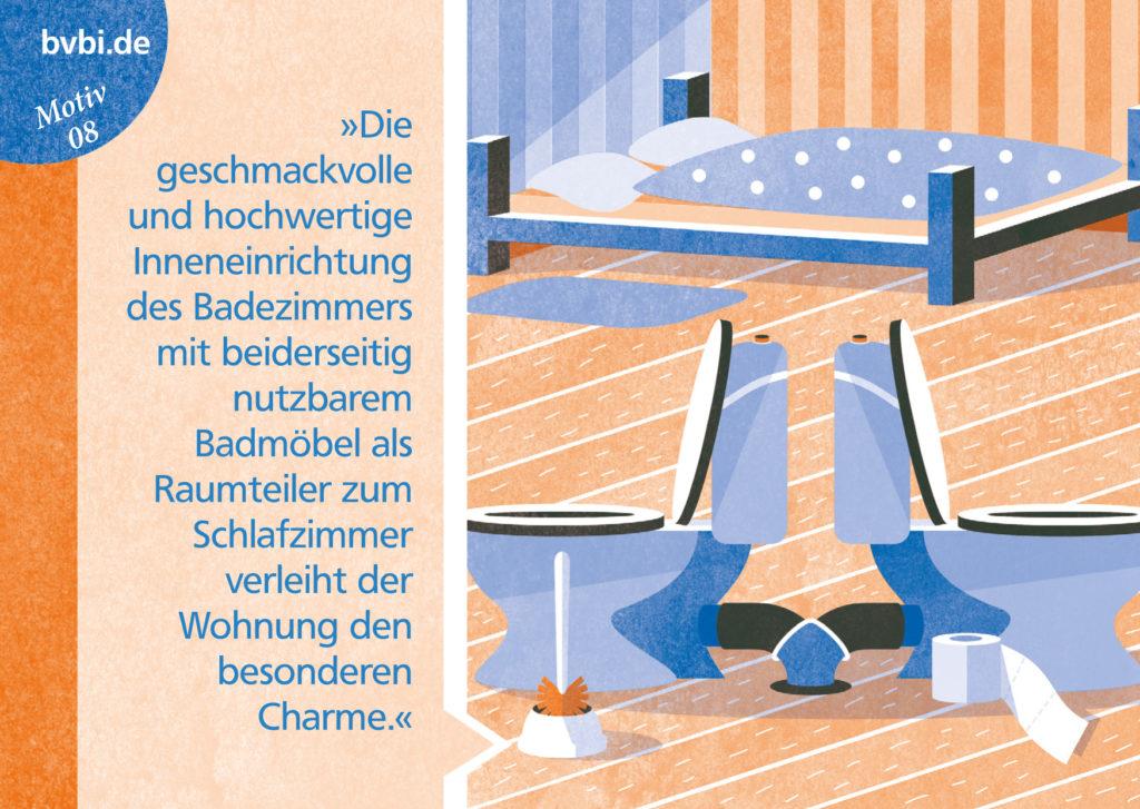 BVBI-Postkarte Motiv 08: »Die geschmackvolle und hochwertige Inneneinrichtung des Badezimmers...«