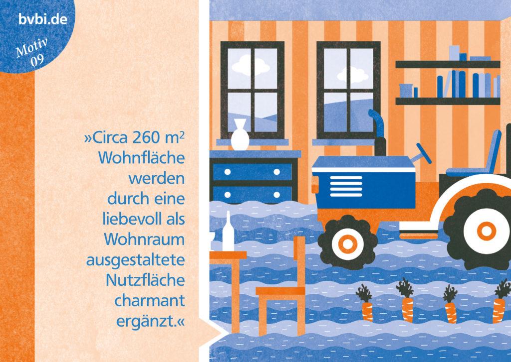 BVBI-Postkarte Motiv 09: »Circa 260 m² Wohnfläche werden durch eine liebevoll als Wohnraum gestaltete Nutzfläche charmant ergänzt.«
