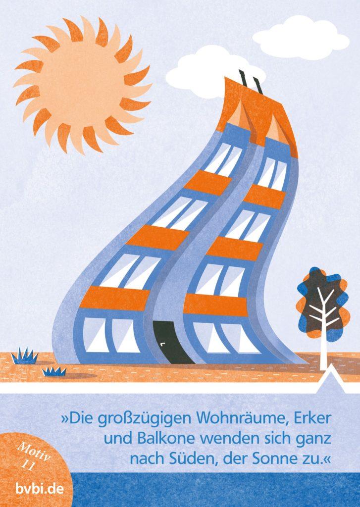 BVBI-Postkarte Motiv 11: »Die großzügigen Wohnräume, Erker und Balkone wenden sich ganz nach Süden, der Sonne zu.«