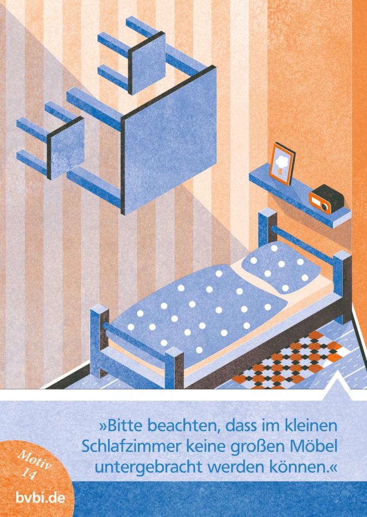 BVBI-Postkarte Motiv 14: »Bitte beachten Sie, dass im kleinen Schlafzimmer keine großen Möbel untergebracht werden können.«