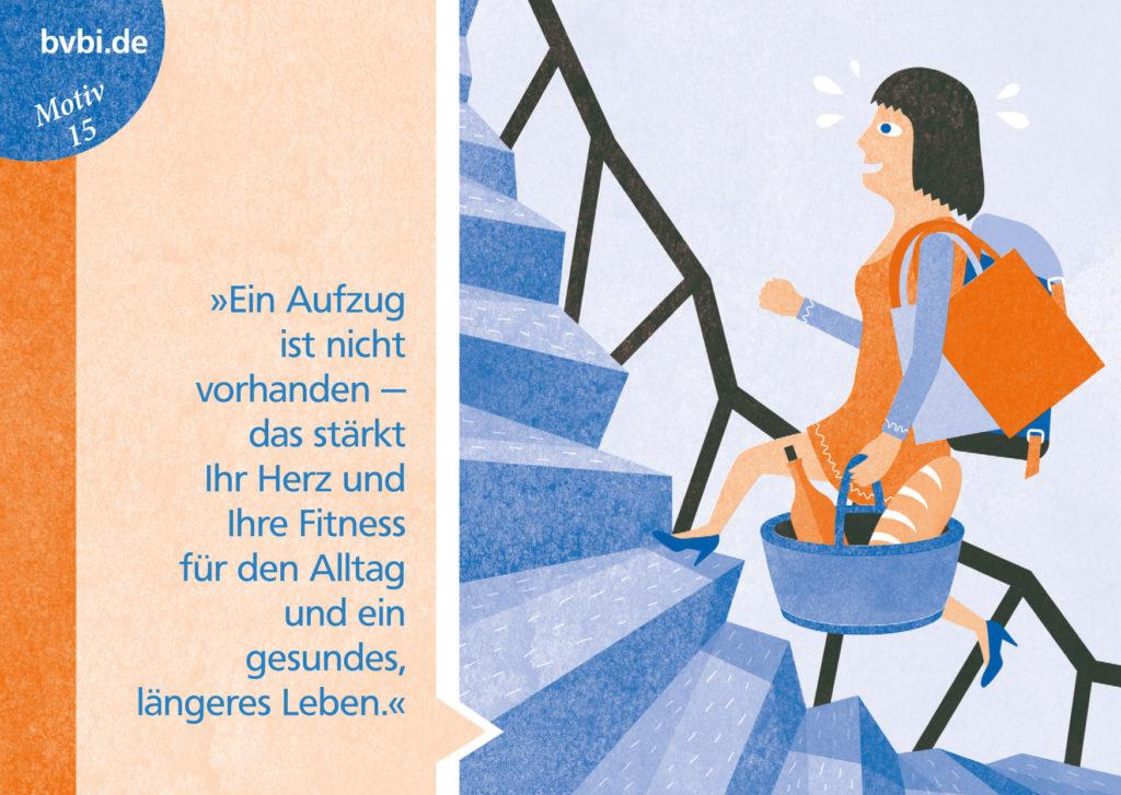 BVBI-Postkarte Motiv 15: »Ein Aufzug ist nicht vorhanden - das stärkt Ihr Herz und Ihre Fitness ...«
