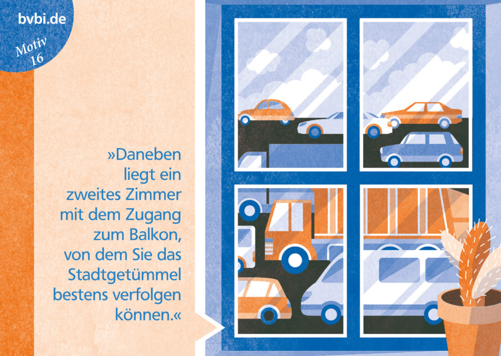 BVBI-Postkarte Motiv 16: »Daneben liegt ein zweites Zimmer mit dem Zugang zum Balkon, von dem Sie das Straßengetümmel bestens verfolgen können.«