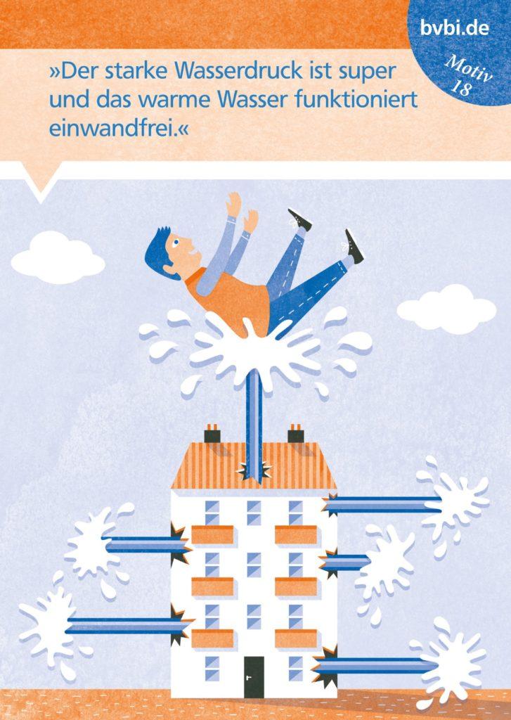 BVBI-Postkarte Motiv 18: »Der starke Wasserdruck ist super und das warme Wasser funktioniert einwandfrei.«
