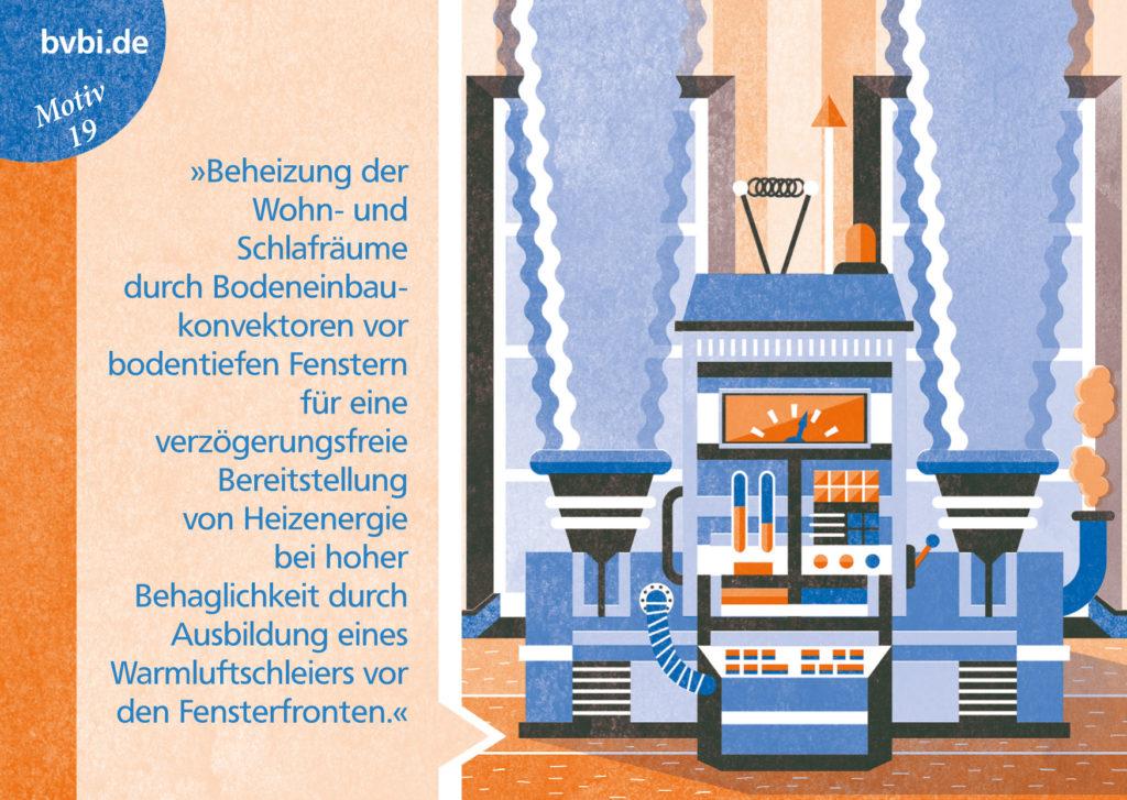 BVBI-Postkarte Motiv 19: »Beheizung der Wohn- und Schlafräume durch Bodeneinbaukonvektoren...«