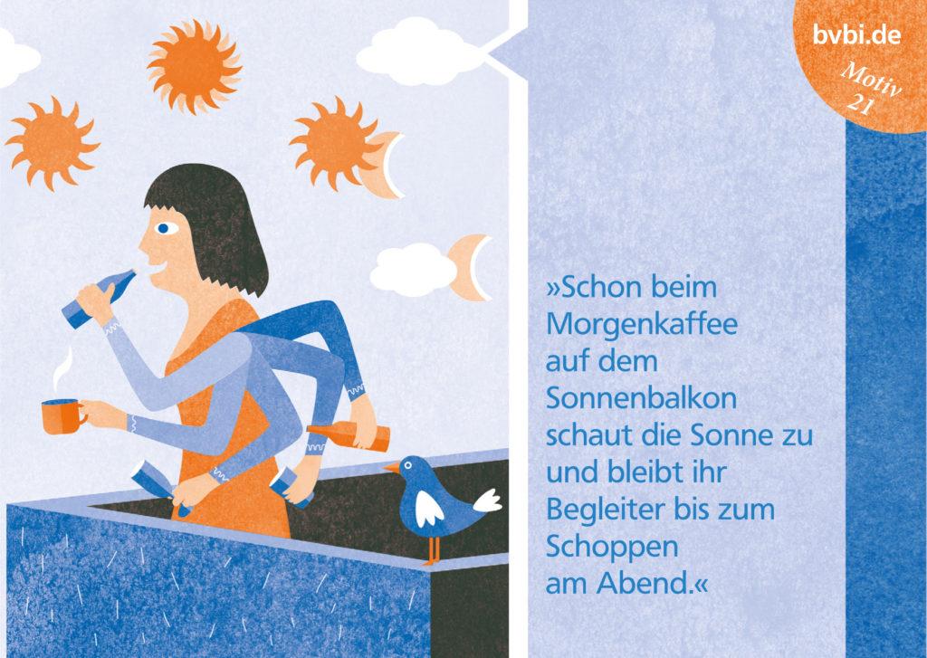 BVBI-Postkarte Motiv 21: »Schon beim Morgenkaffee auf dem Sonnenbalkon schaut die Sonne zu und bleibt ihr Begleiter bis zum Schoppen am Abend.«