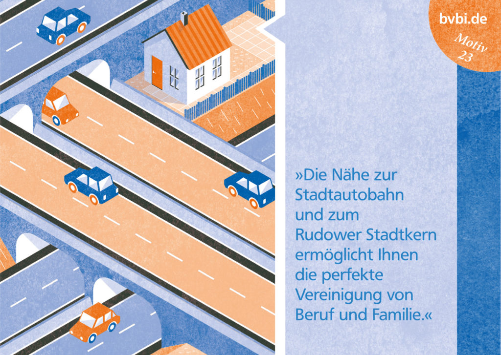 BVBI-Postkarte Motiv 23: »Die Nähe zur Stadtautobahn und zum Rudower Stadtkern ermöglicht Ihnen die perfekte Vereinigung von Beruf und Familie.«