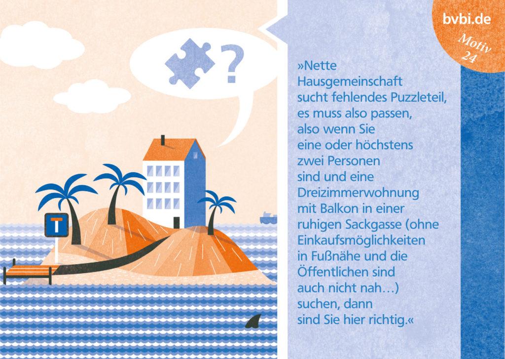 BVBI-Postkarte Motiv 24: »Nette Hausgemeinschaft sucht fehlendes Puzzleteil, ...«