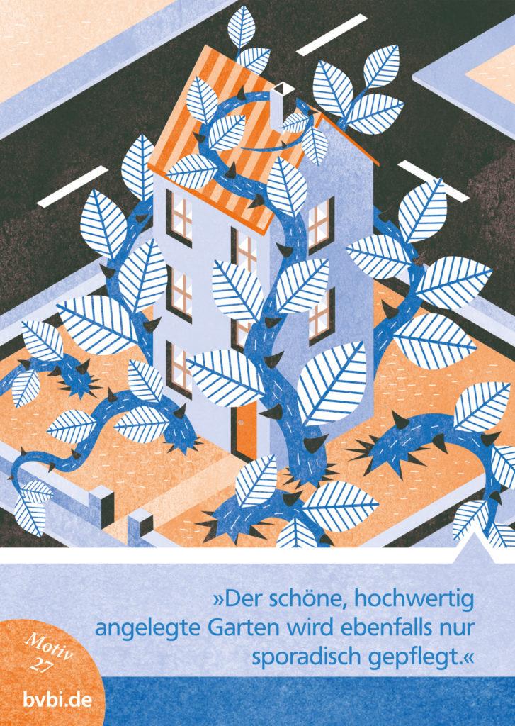 BVBI-Postkarte Motiv 27: »Der schöne, hochwertig angelegte Garten wird ebenfalls nur sporadisch gepflegt.«