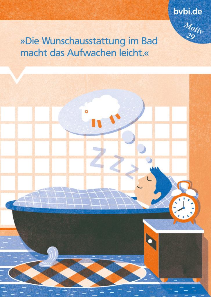 BVBI-Postkarte Motiv: »Die Wunschausstattung im Bad macht das Aufwachen leicht.«