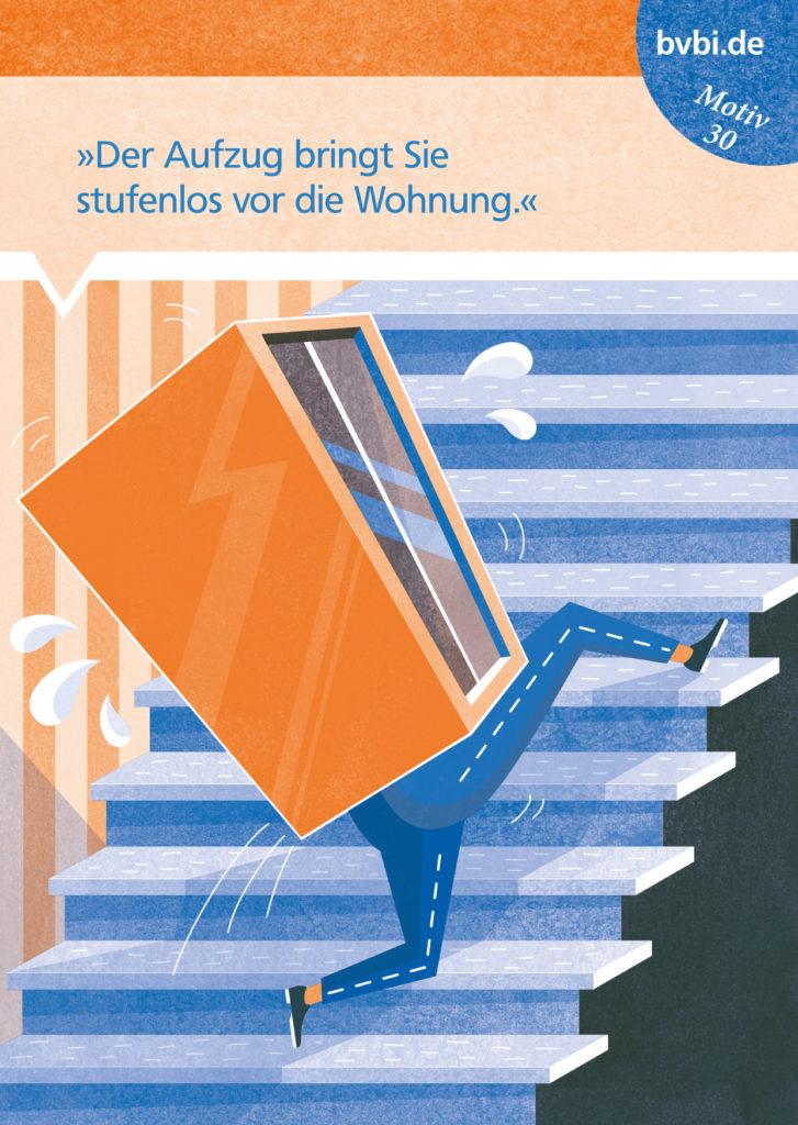 BVBI-Postkarte Motiv 30: »Der Aufzug bring Sie stufenlos vor die Wohnung.«