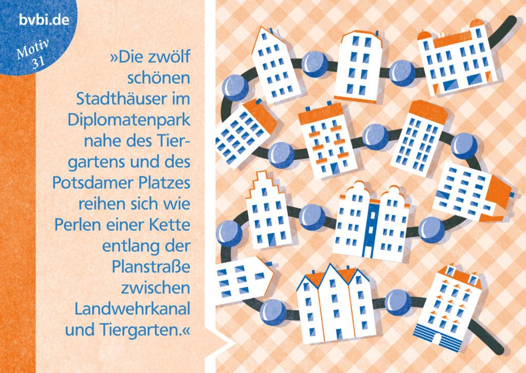 BVBI-Postkarte Motiv 31: »Die zwölf schönen Stadthäuser im Diplomatenpark nahe des Tiergartens und des Potsdamer Platzes reihen sich wie Perlen einer Kette...«