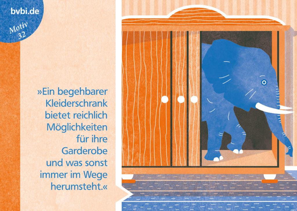 BVBI-Postkarte Motiv 32: »Ein begehbarer Kleiderschrank bietet reichlich Möglichkeiten für Ihre Garderobe und was sonst immer im Wege herumsteht.«