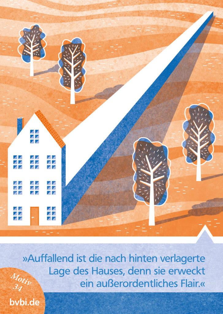 BVBI-Postkarte Motiv 34: »Auffallend ist die nach hinten verlagerte Lage des Hauses, denn sie erweckt ein außerordentliches Flair.«