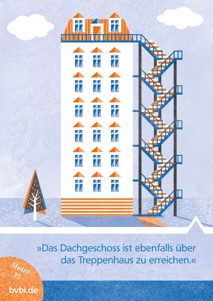BVBI-Postkarte Motiv 35: »Das Dachgeschoss ist ebenfalls über das Treppenhaus zu erreichen.«