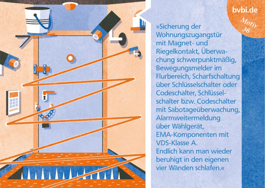 BVBI-Postkarte Motiv 36: »Sicherung der Wohnungszugangstür mit Magnet- und Riegelkontakt, ...«