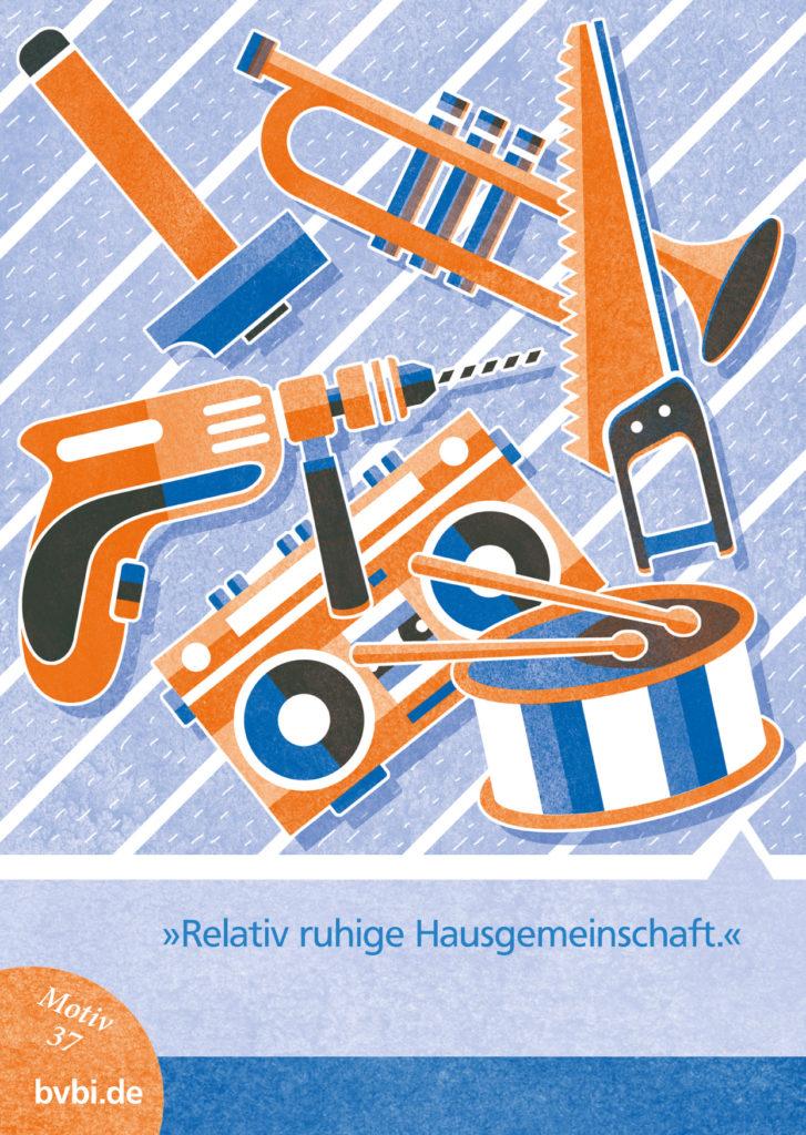 BVBI-Postkarte Motiv 37: »Relativ ruhige Hausgemeinschaft.«
