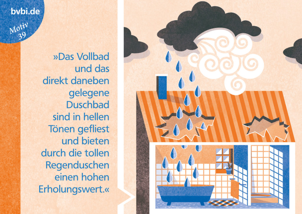 BVBI-Postkarte Motiv 39: »Das Vollbad und das daneben liegende Duschbad sind in hellen Tönen gefliest...«