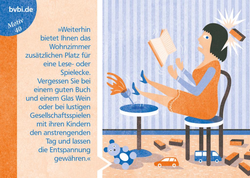 BVBI-Postkarte Motiv 40: »Weiterhin bietet Ihnen das Wohnzimmer zusätzlichen Platz für eine Lese- oder Spielecke. Vergessen Sie bei einem guten Buch... «