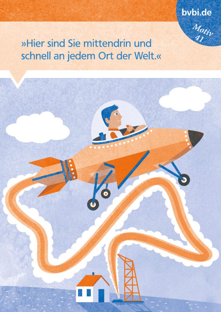 BVBI-Postkarte Motiv 41: »Hier sind Sie mittendrin und schnell an jedem Ort der Welt.«