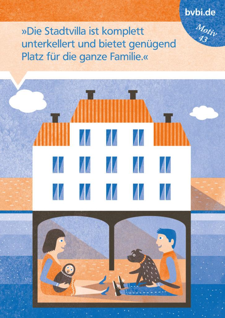 BVBI-Postkarte Motiv 43: »Die Stadtvilla ist komplett unterkellert und bietet genü+gend Platz für die ganze Familie.«