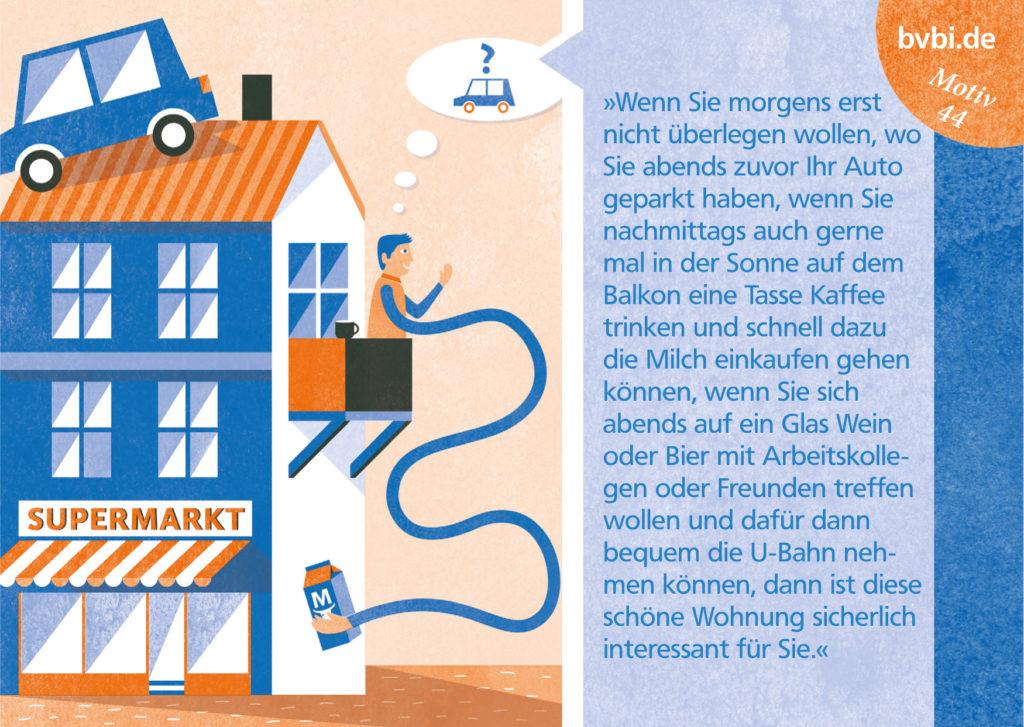 BVBI-Postkarte Motiv 44: »Wenn Sie morgenbs erst nicht überlegen wollen, wo Sie abends zuvor Ihr Auto geparkt haben, ...«