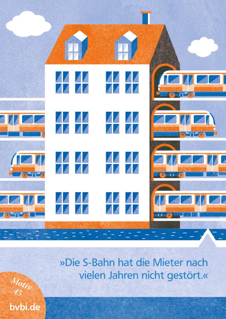 BVBI-Postkarte Motiv 45: »Die S-Bahn hat die Mieter nach vielen Jahren nicht gestört.«
