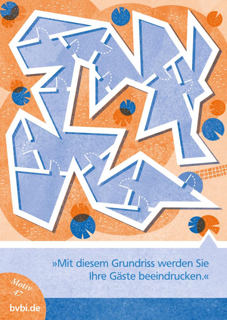 BVBI-Postkarte Motiv 47: »Mit diesem Grundriss werden Sie Ihre Gäste beeindrucken.«